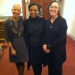 That's me in the middle with panelists, Bridges(l) and Lise Funderburg(r)