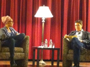 """Zadie Smith and Jed Esty """"in conversation"""" at the University of Pennsylvania."""