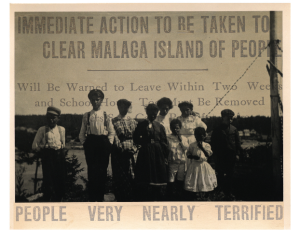 A headline from the newspaper detailing the fate of the people from Malaga Island.